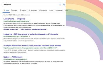 Le mot lesbienne ne renvoie plus (tout de suite) vers des contenus pornographiques sur Google